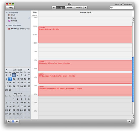 The Link Subscribes you to the Schedule in iCal!